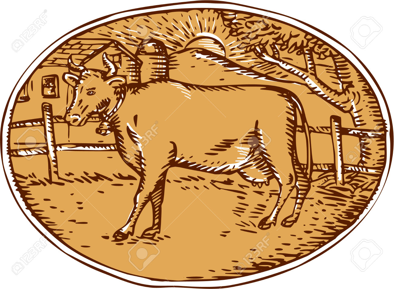 Illustration Of Cow Facing Side With Ranch House Farm Mountain.