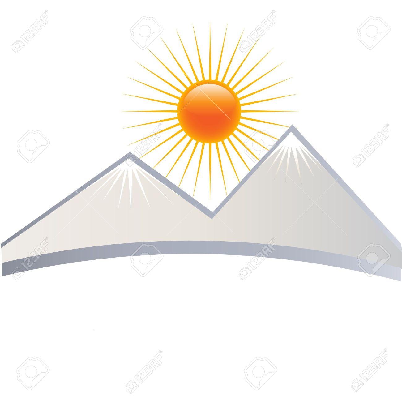 Clipart House Mountain Sun.