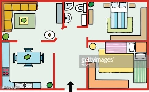 House plans and furniture Clipart Image.