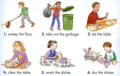 Family Doing Household Chores Clipart.