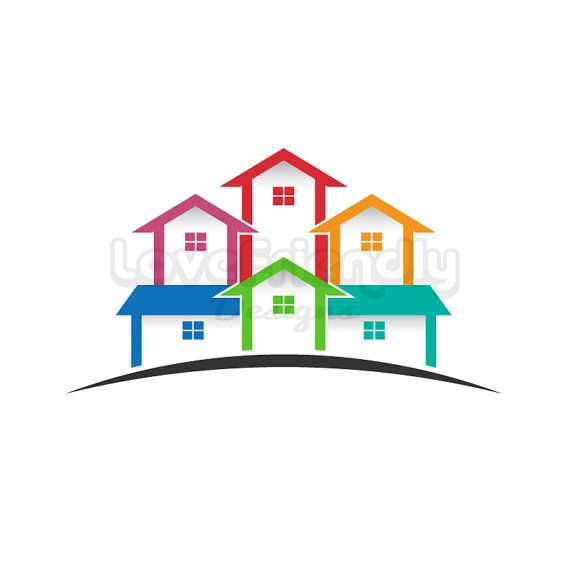 Real Estate logo, colored houses clip art. Concept for a.