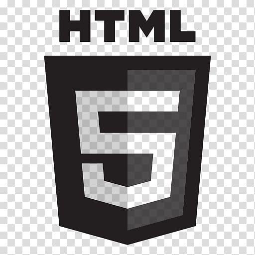 HTML 5 logo, HTML5 Grey Black transparent background PNG.