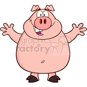 Royalty Free RF Clipart Illustration Happy Pig Cartoon Mascot Character  Open Arms For Hugging clipart. Royalty.
