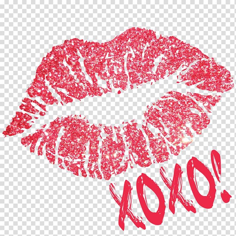 Pink kiss mark illustration, Hugs and kisses Lip balm.