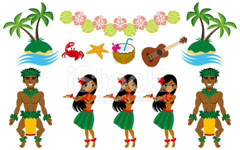 Hula Dancer and Hawaiian image set Clipart Image.
