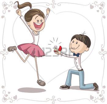 couple de mariés dessin: Proposition de mariage vecteur de bande.