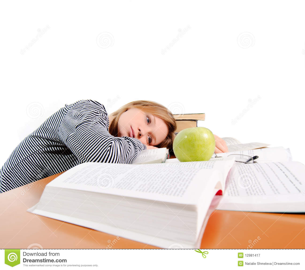 Hungry Tired Student Royalty Free Stock Photography.