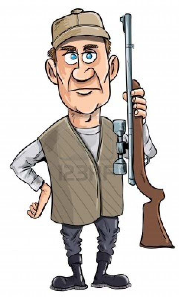 Hunting clipart cartoon person, Hunting cartoon person.