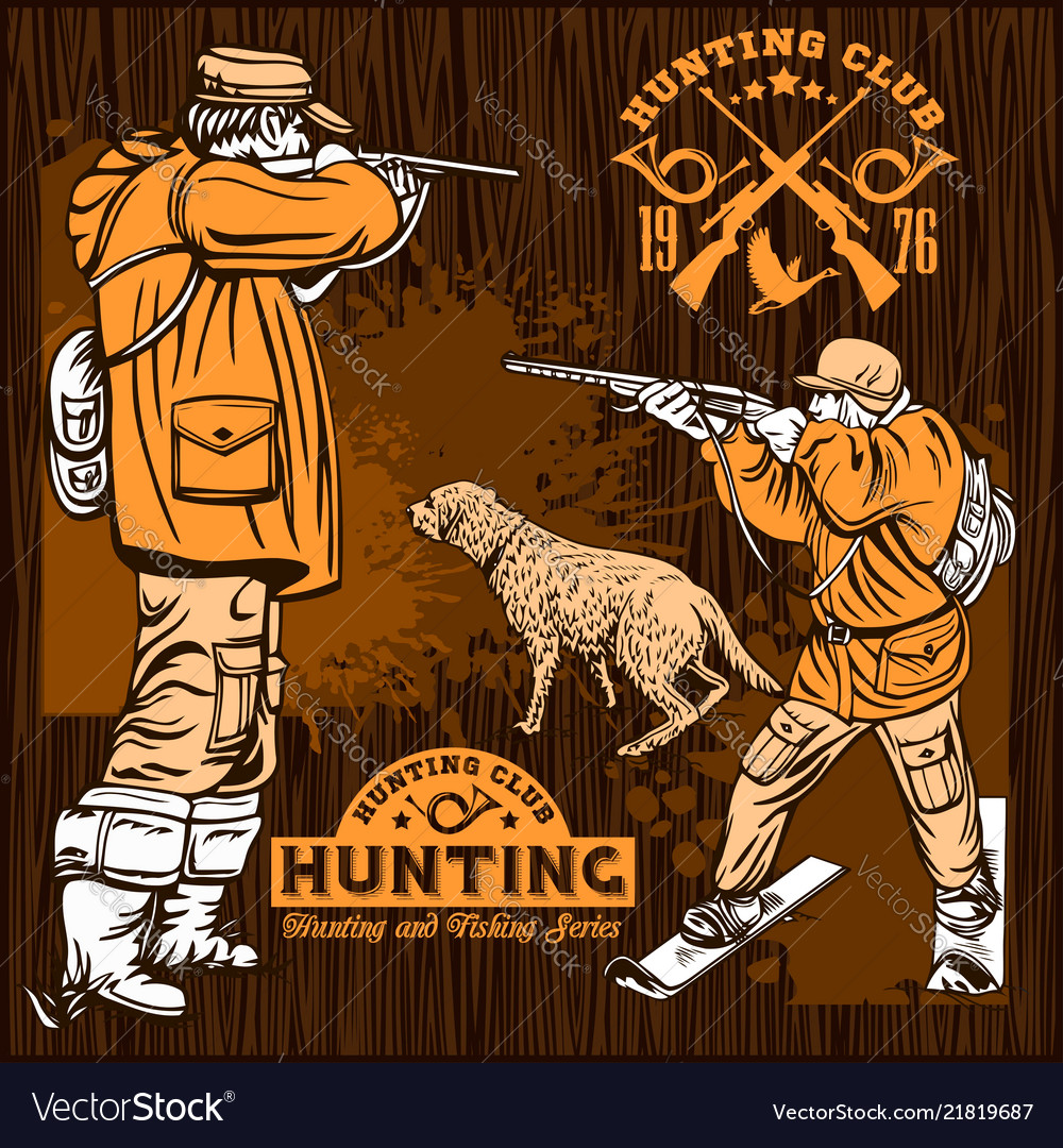 Hunters with dogs.