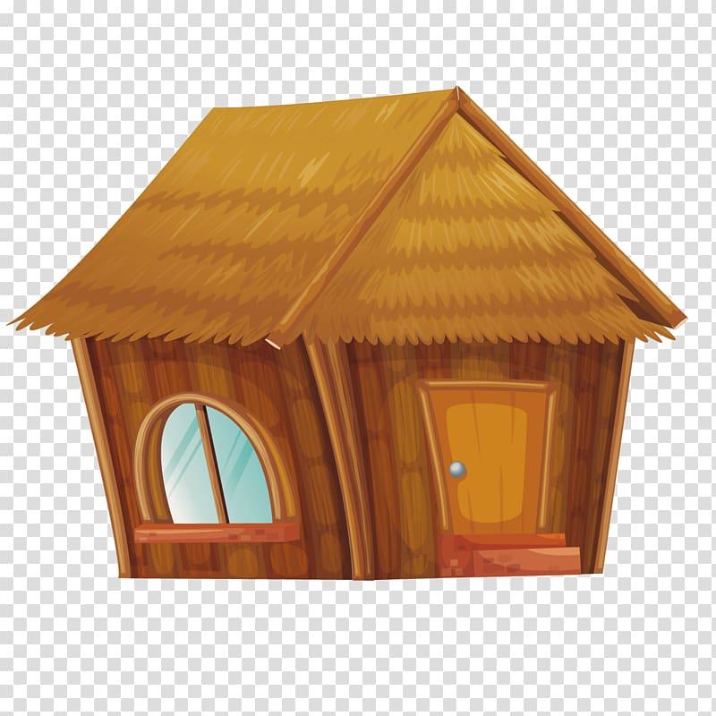 Brown house illustration, Hut House Illustration, grass huts.