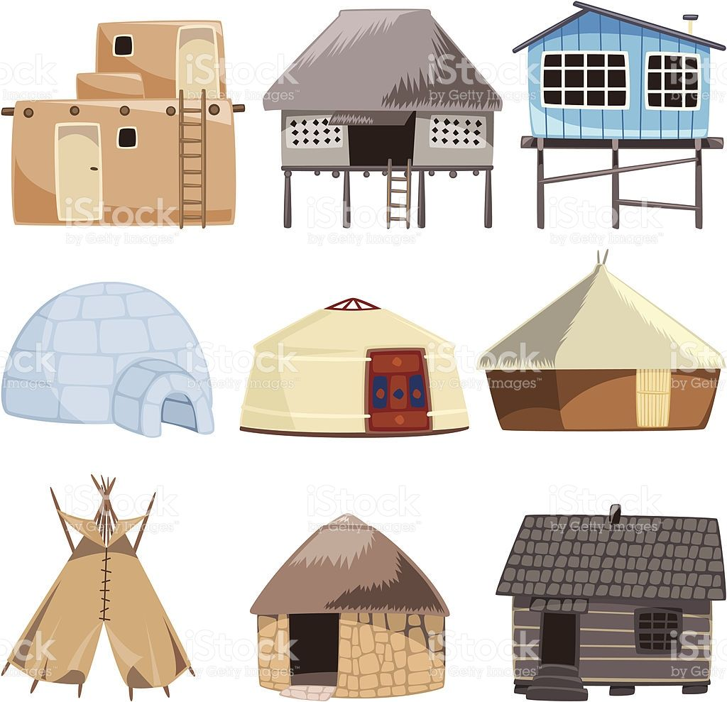 Set of traditional housed. With House, Igloo, Hut, Shack.