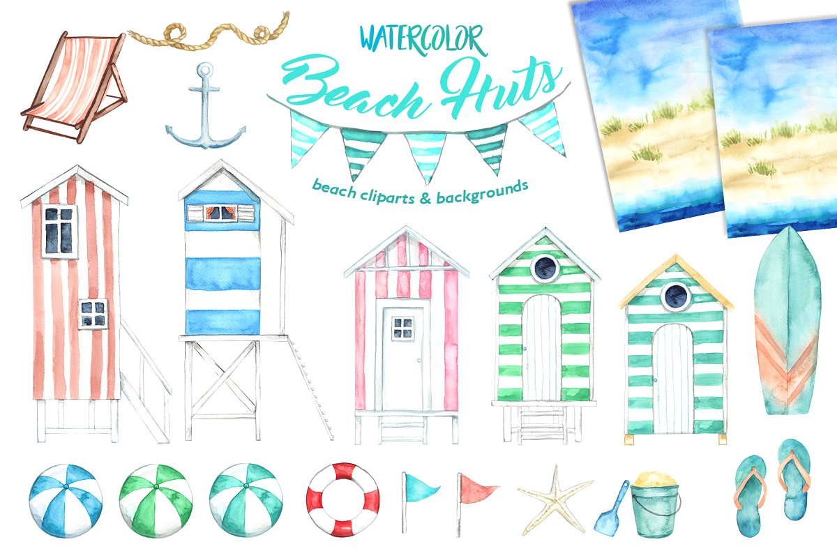 Watercolor Beach Huts.