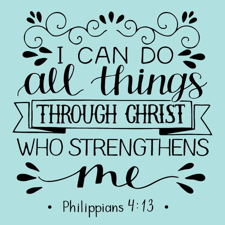 Hand lettering with bible verse I can do ALL things through.