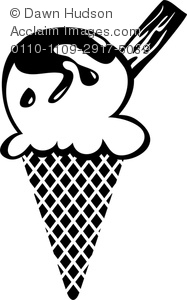 Clipart Image of A Black and White Ice Cream Cone.