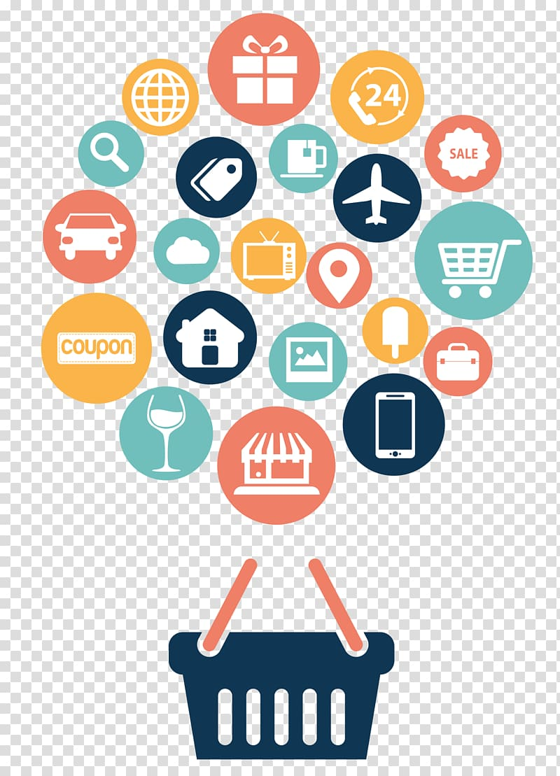 Online shopping logo illustration, Web development Web.