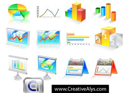 3D Business Chart Icon Pack Clipart Picture Free Download.