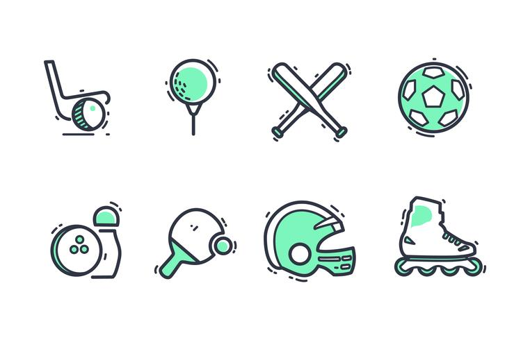 Sport Equipment Icon Pack with Duotone Colors.