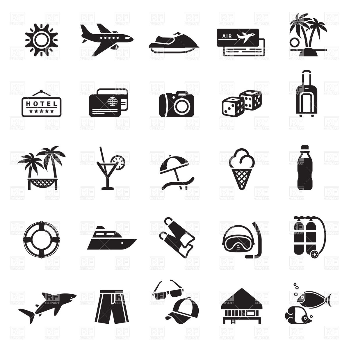 Vacation, travel and summer holiday icons Vector Image #17903.