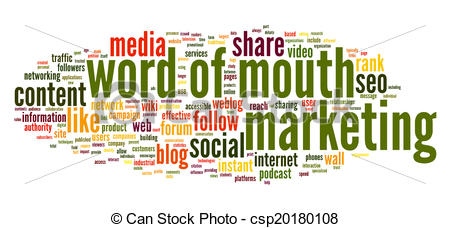 Stock Illustration of Word of mouth in word tag cloud.