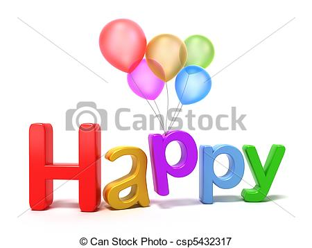 Stock Illustrations of Word Happy with colourful letters.