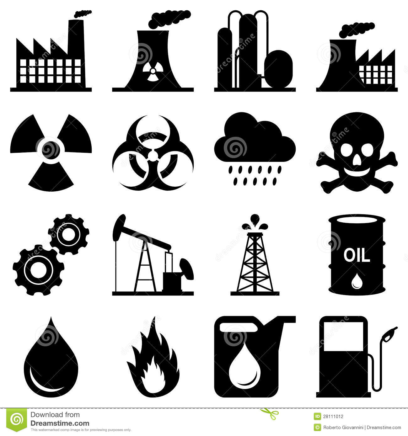 Industry Black And White Icons Stock Vector.