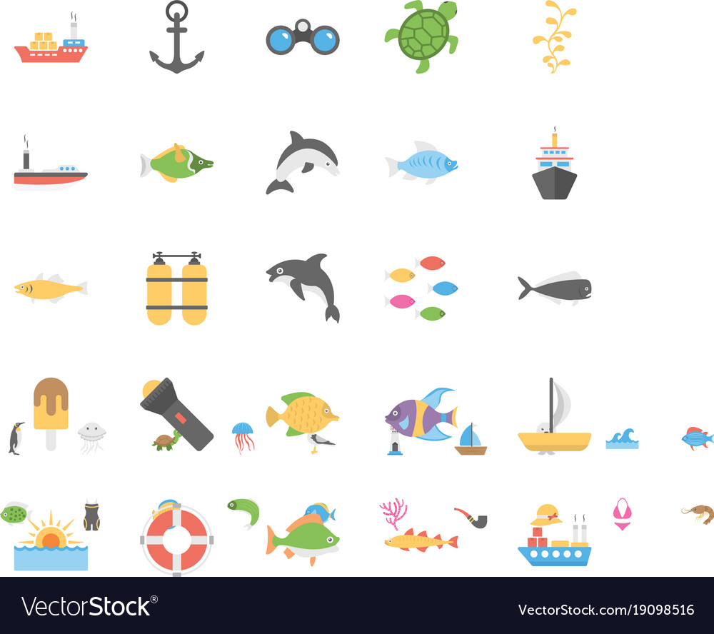 Icons pack of ocean and sea life.