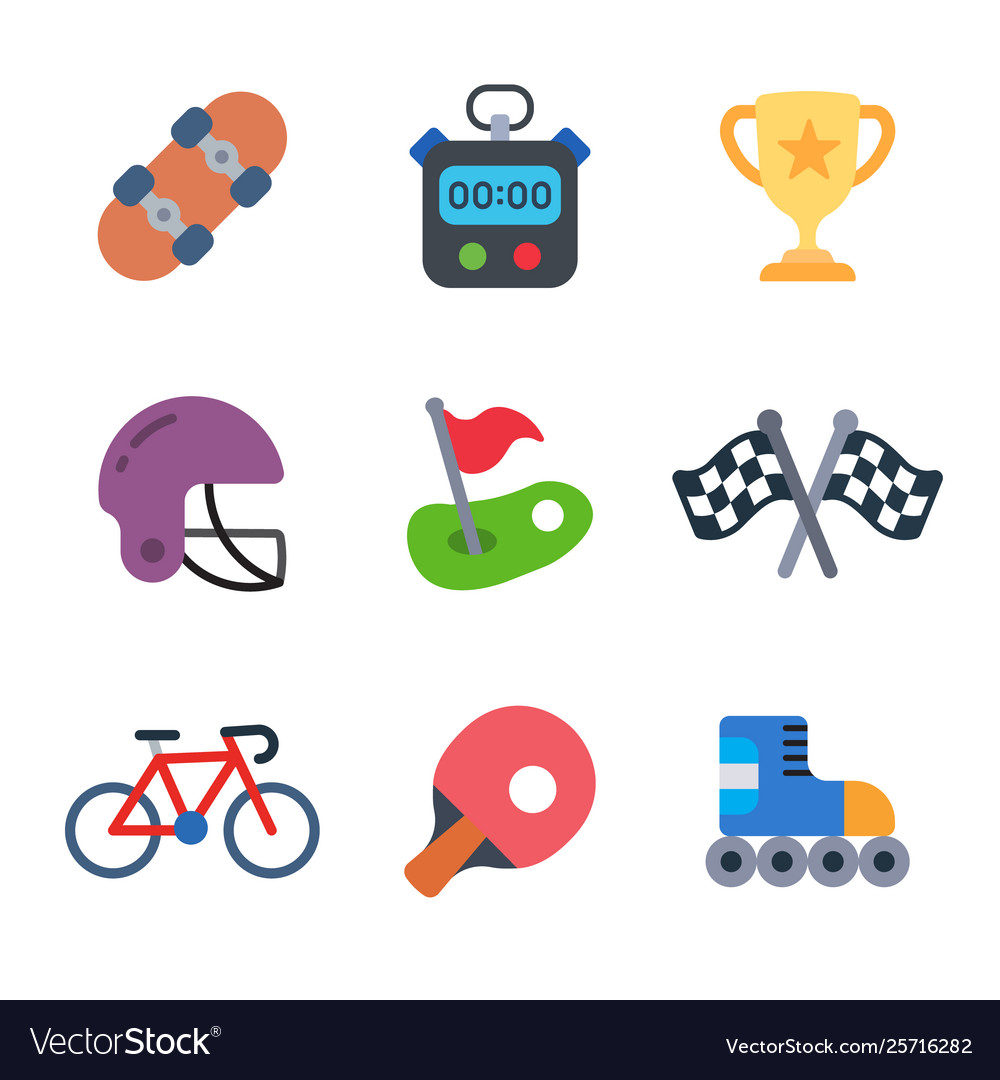 Games and sport colored trendy icon pack 3.