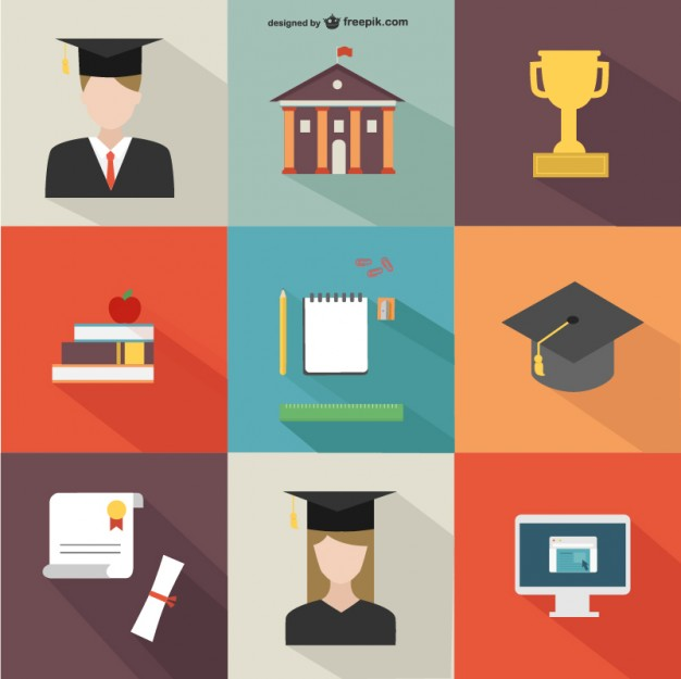 Academic Icons Pack Free Vector.
