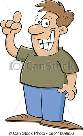 Clipart Vector of Cartoon man with an idea.