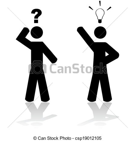 Vector Clipart of Man in doubt and another with an idea.