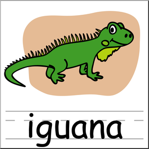 Clip Art: Basic Words: Iguana Color Labeled I abcteach.com.