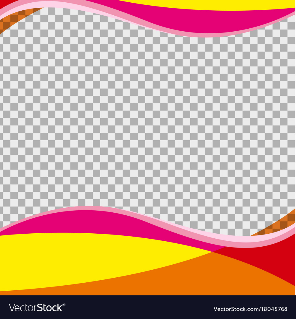 Yellow and pink waves on transparent background.