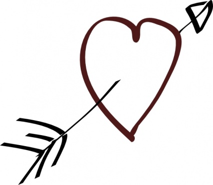 Tree Carved Heart With Arrow In It Black And White Clipart.