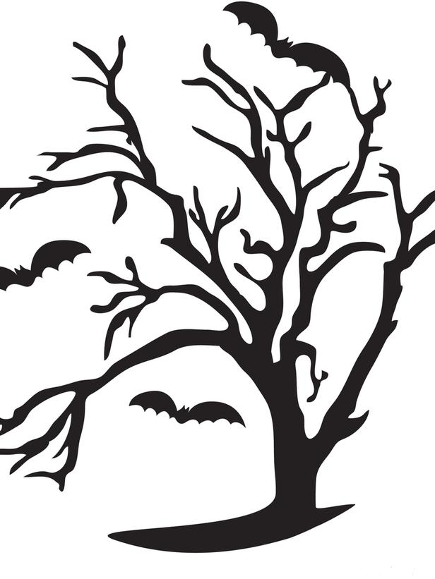 Clipart image black and white tree carvings.