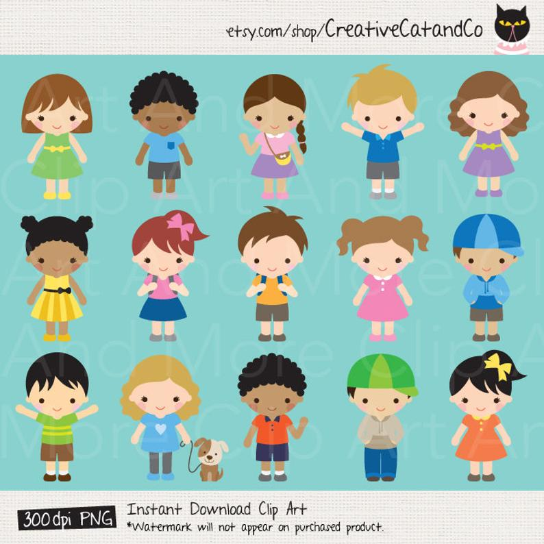 Kids Clipart Children Clipart Boy Clipart Girl Clip Art Kid Character  Clipart Children Cartoon Clipart Set African American Cute Kid Clipart.