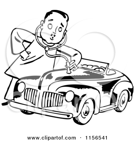 Clipart Car Black And White Mechanic.