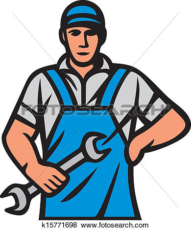 Clip Art of Auto mechanic fixing a car under the hood k22352146.