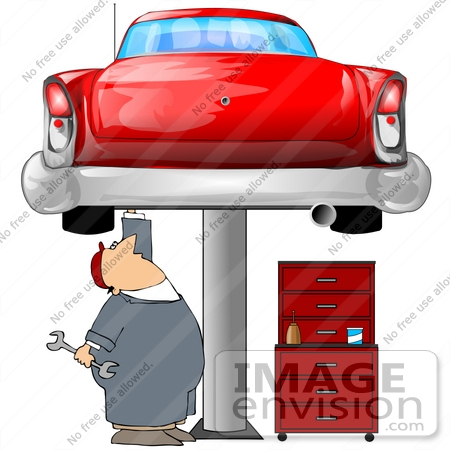 Clip Art Graphic of a Caucasian Male Auto Mechanic Under A Red.