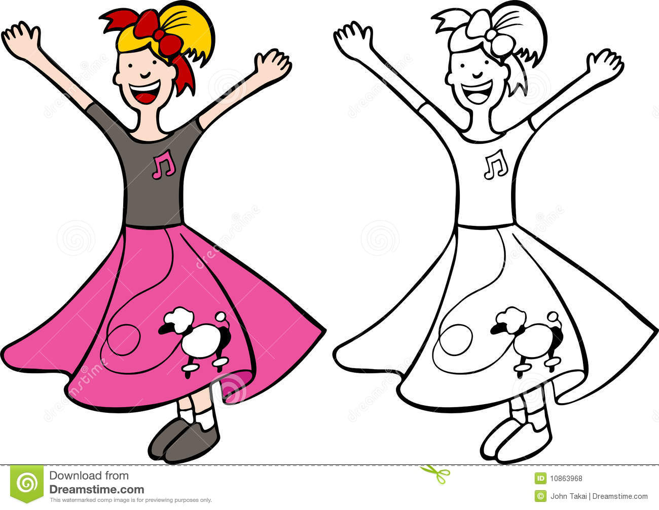 Girl In Poodle Skirt Royalty Free Stock Photos.
