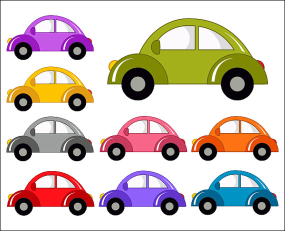 Cute Cars Digital Clip Art Funny Cars Clipart by YarkoDesign.
