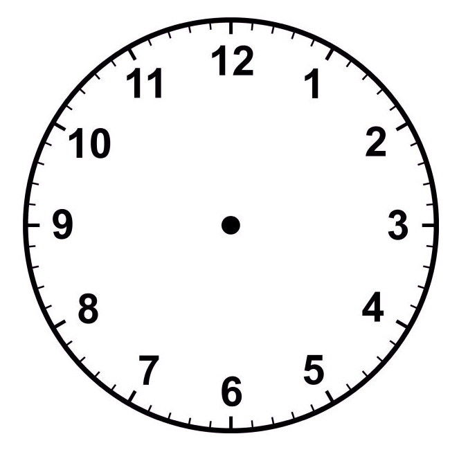 Clock Clipart Black And White No Hands.