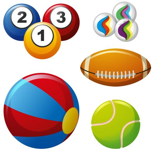 Five different kinds of balls.