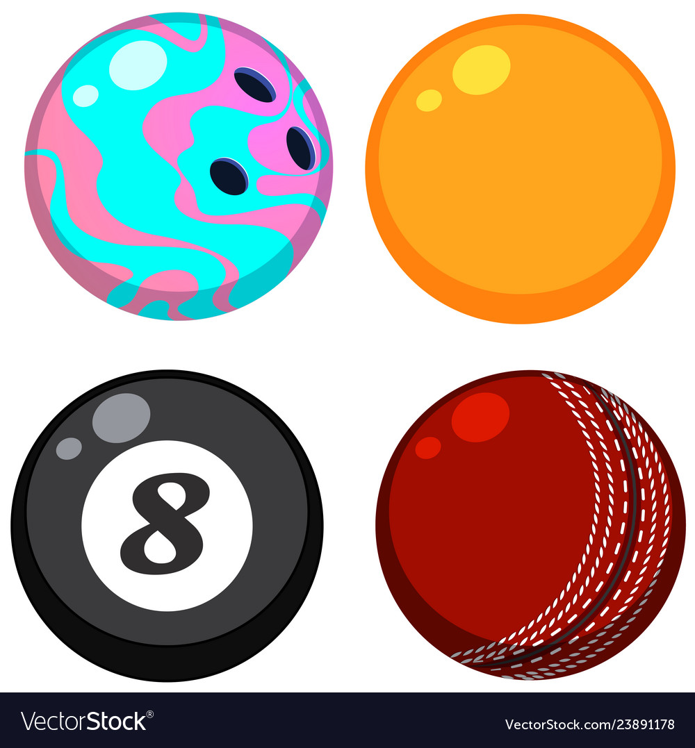 Set of different balls.