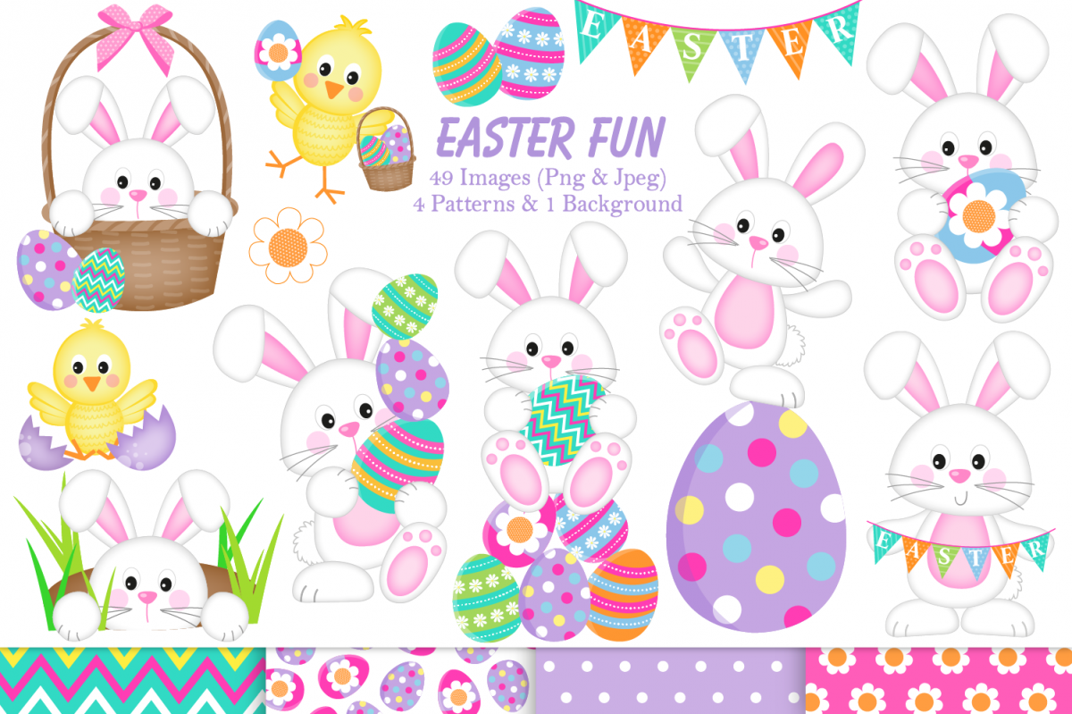 Easter clipart, Easter bunny graphics & illustrations.