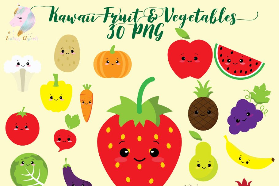 Kawaii Fruit & Vegetables Clipart.