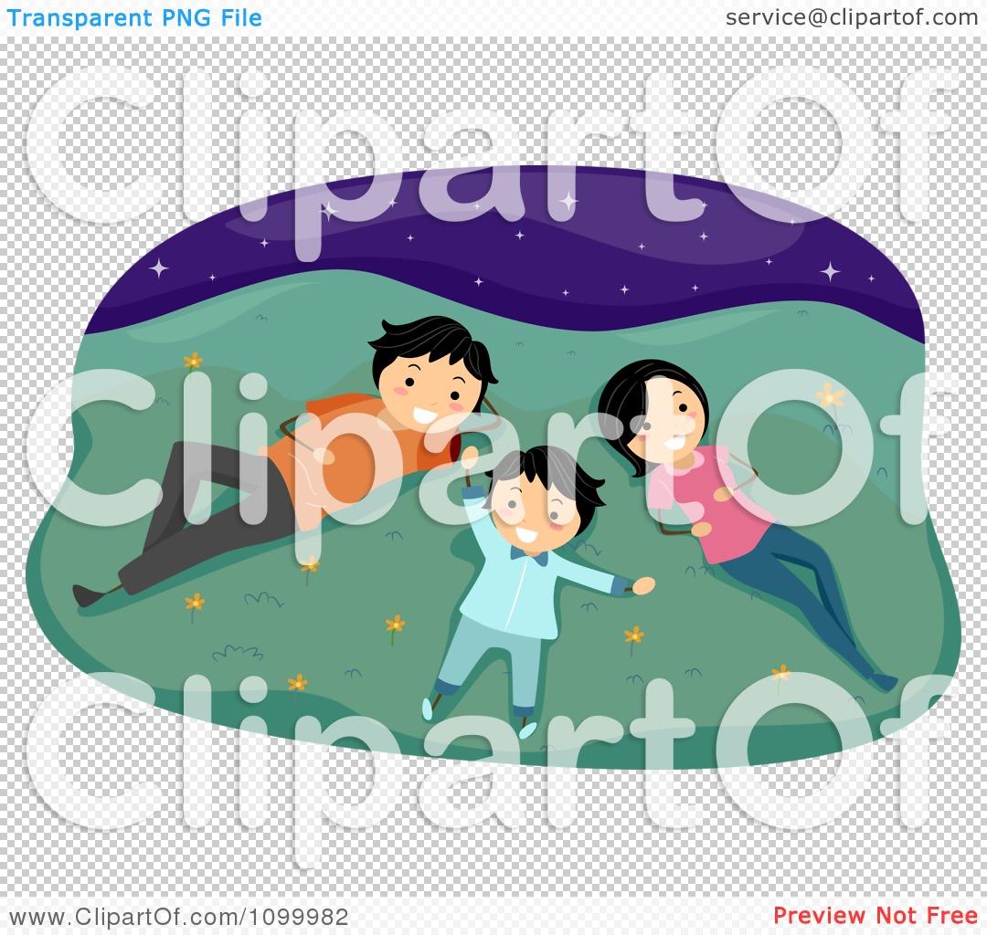 Clipart Happy Family Laying In Grass And Gazing At Stars.