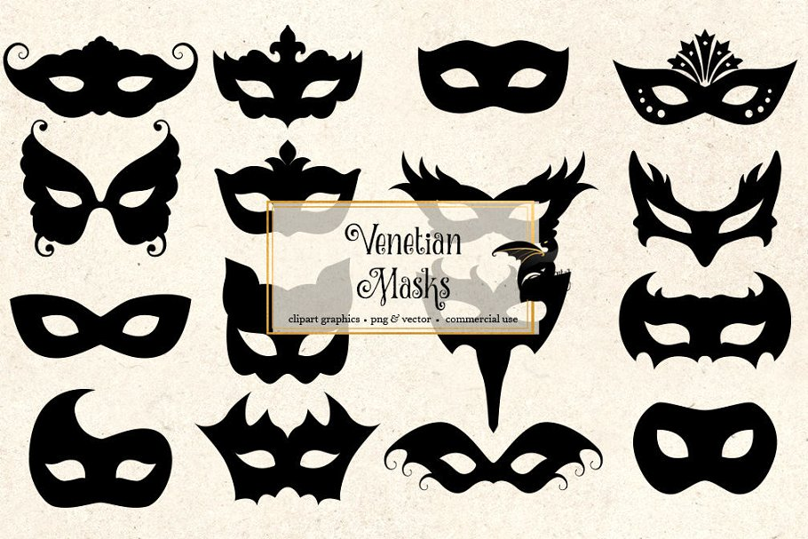 Venetian Mask Silhouette Clipart.