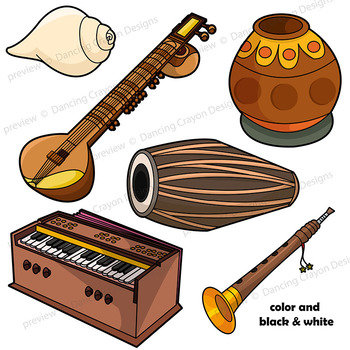 Indian Instruments Clip Art.