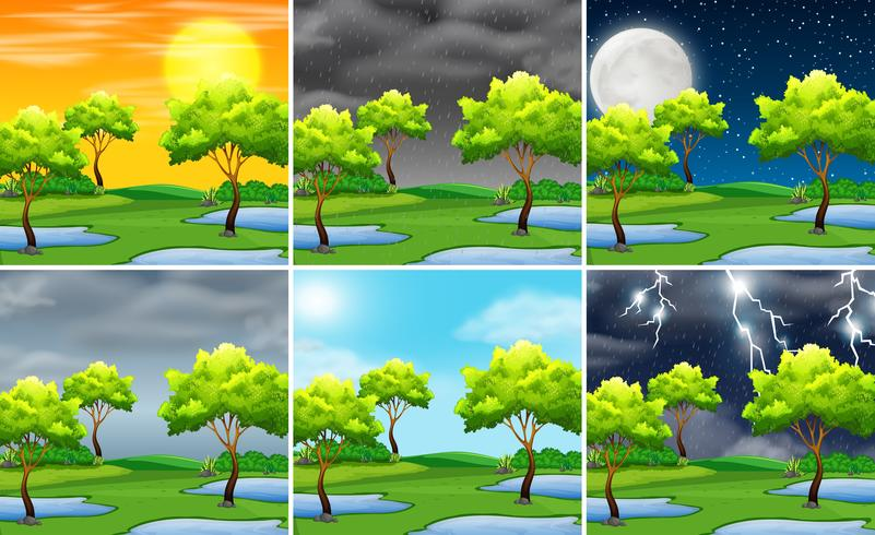 Set of nature landscape different weather.