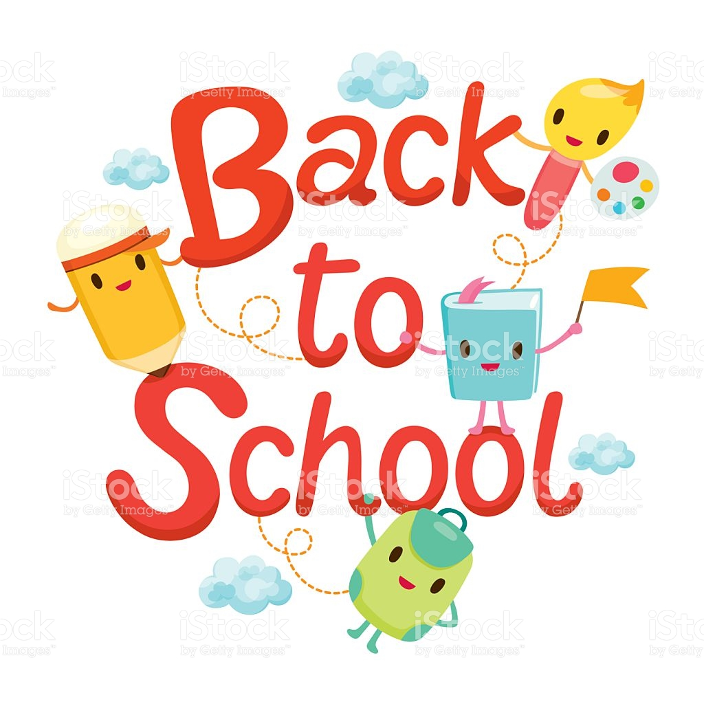 Back To School Letters With Education Characters stock vector art.